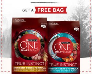 FREE Bag of Purina One True Instinct Dog or Cat Food