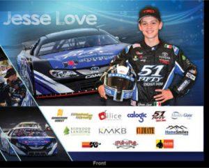FREE Jesse Love Racing Signed Hero Card